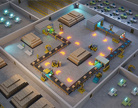 3D model Automatic factory with conveyor line and 2