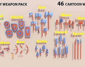 Low Poly Weapons Pack melee 3D model