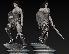 warrior Wonder Woman Statue 3D print model