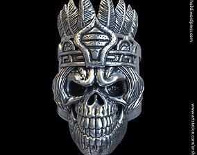 3D printable model tribal skull vol1 ring