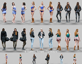 6 Realistic Female Characters Vol 1 3D model game-ready