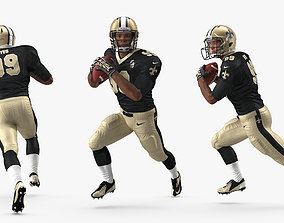 3D US Football Player New Orleans Saints Running Pose