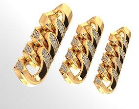 cuban chain or necklace diamond cz 3D model