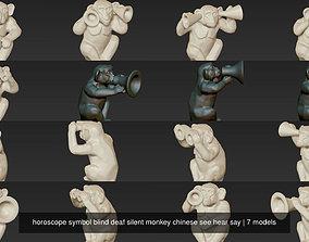 horoscope symbol blind deaf silent monkey chinese see 3D 1