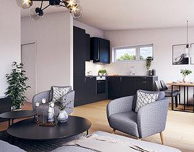 3D model Sketchup Interior open space Scandinavian
