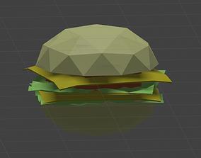 3D asset low-poly Low Poly Burger