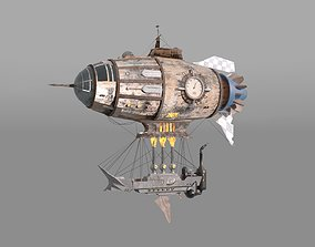 3D Steampunk style zeppelin with ship
