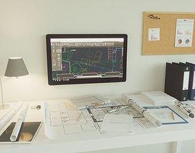 Office set architect 3D model