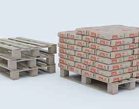 Cement Bags on Pallet 3D asset