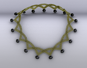 Necklace 3D model game-ready crown