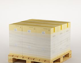 3D model cardboard boxes on pallet