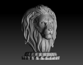 3D printable model Lion head trophy and bust sculpture