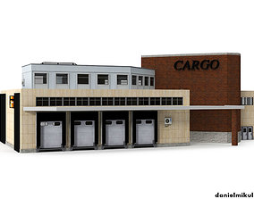 3D model Cargo Building with Interior Low Poly