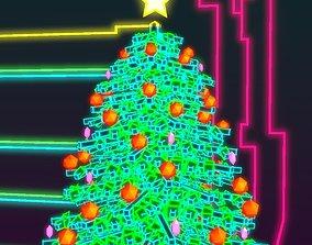 3D Neon Christmas Tree
