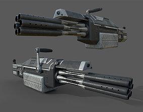 Futuristic minigun heavy weapon 3D model