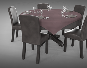 3D Restaurant table plus cutlery and chairs