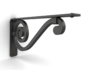 Iron shelf bracket 04 3D model