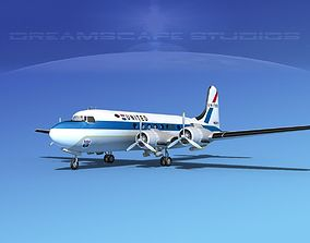 Douglas DC-4 United Airlines 2 3D model