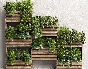 Indoor plant-plant stand bax wood vase 04 3D model