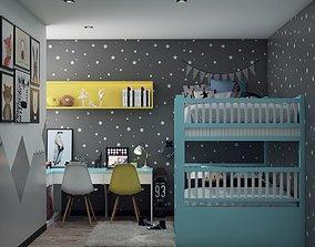 animated bedroom design 3d model dresser