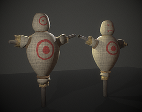 3D model Low Poly Medieval Scarecrow - Training Dummy with