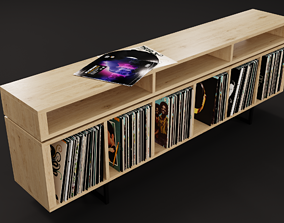 Vinyl LP Storage with Record Player Stand Light 3D model 2