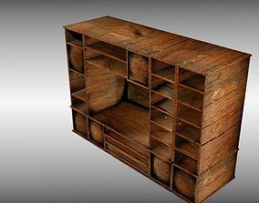 3D model Wooden Cabinet Locker Closet Cupboard