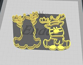 3D print model Christmas Sitting Reindeer Cookie-Fondant 2