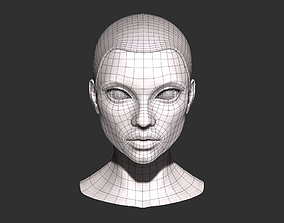 Female head base mesh 3D asset game-ready
