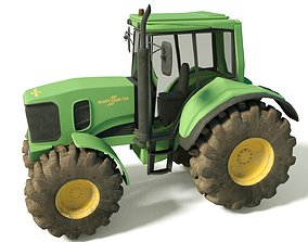 Heavy Farm Tractor with textures High Quality Model