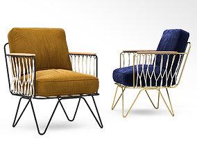 Honore Deco croisette velour armchair 3D model