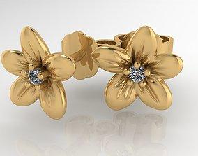 Diamond flower earing 3D printable model