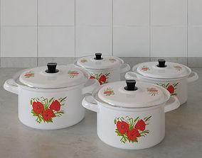 3D model Kitchen pots set