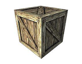 Wood Box 3D asset game-ready