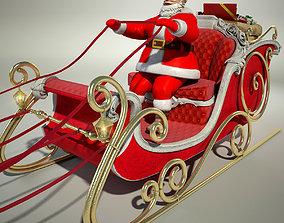 3D model Santa Claus Sleigh sled