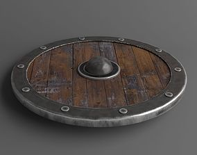 Medieval rounded shield 3D asset