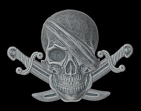The bas-relief of pirate skull with the knifes 3D print