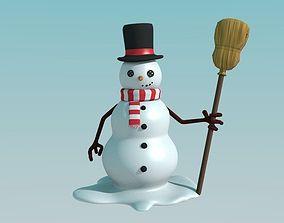 3D asset VR / AR ready Snowman snow