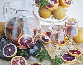 Grapefruits lemonade and fruit 3D model