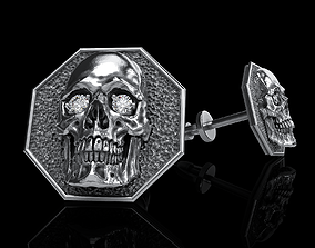 skull earrings studs art 3D printable model