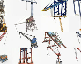 3D 19 Lowpoly Industrial Cranes