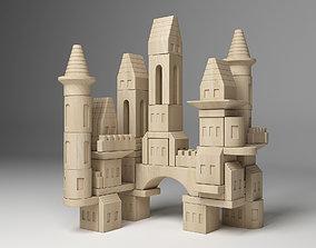 3D FAO Schwarz Wooden Castle Building Blocks Set Toy