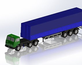 KamAZ and 3-axle container semi-trailer 3D printable model