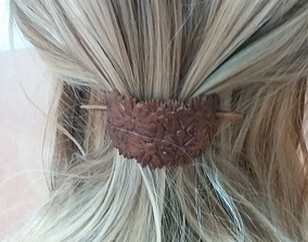 Hair Stick Barrete with embossed 3D printable model 1