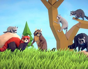 3D asset animated Poly Art Raccoons and Red Panda
