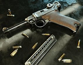 3D model Luger P08 -Parabellum WWII pistol