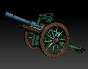 Canon Schneider Guerra Mundial 3D asset game-ready