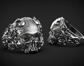 Skull Ring Vintage STL 3d model for 3d printing