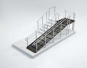 rampant and stair 3D model wheelchair