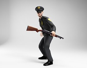 3D asset polieman gun in hand ready to shoot 3